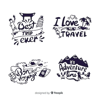Collection of travel lettering badges