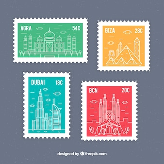 Collection of travel stamps in four colors