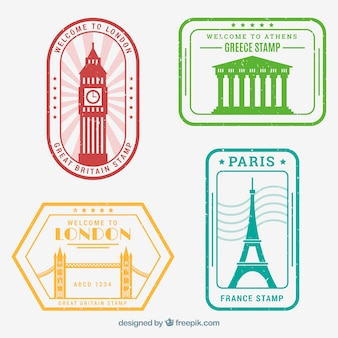 Collection of travel stamps in four different colors