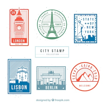 Collection of travel stamps with monuments