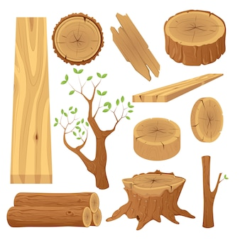 Collection of tree logs, planks, stump