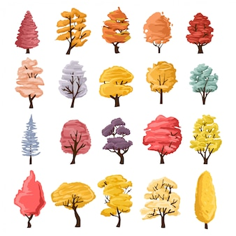 Collection of trees illustrations. can be used to illustrate any nature or healthy lifestyle topic.