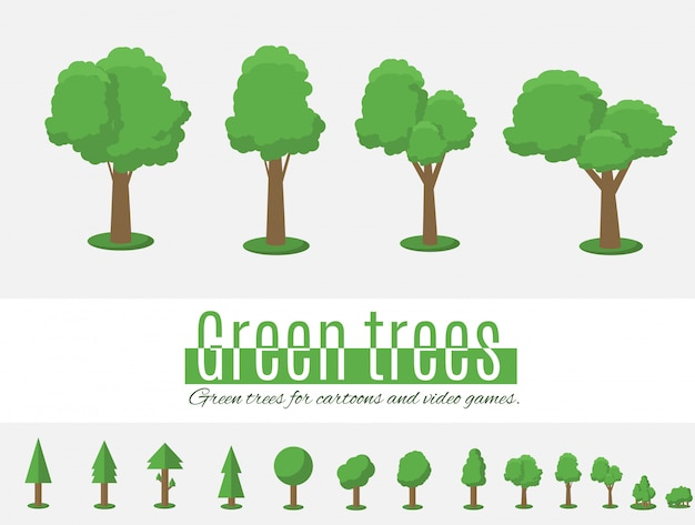Collection of trees illustrations.