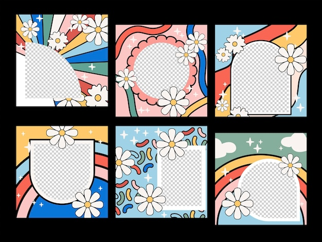 Collection trendy colourful flower frame. abstract floral spring and summer design. vector set.