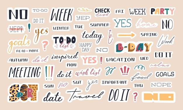 Collection of trendy lettering stickers, quote for planner and diaries.