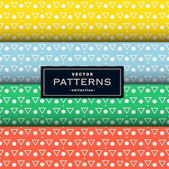 Collection of triangle and dot pattern set in four colors