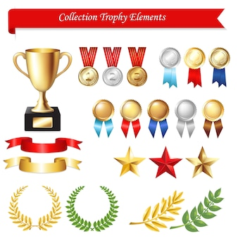 Collection trophy elements,  on white background,  illustration