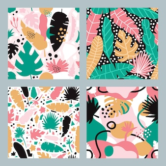 Collection of tropical abstract patterns