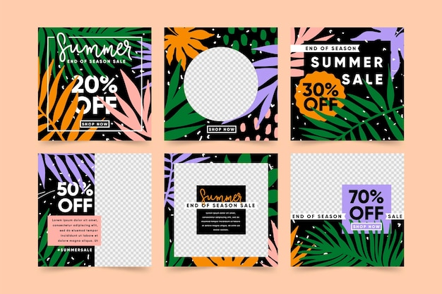 Collection of tropical end of summer sales posts