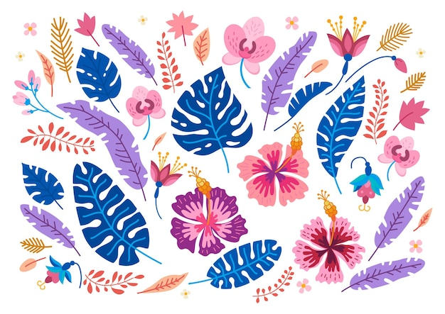 Collection of tropical flowers.  cartoon rainforest floral elements isolated