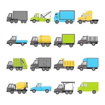 Collection of truck icons in flat style