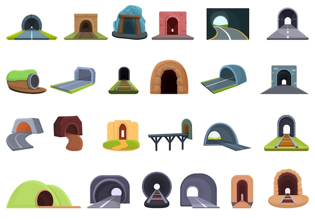 Collection of tunnel icons isolated on white