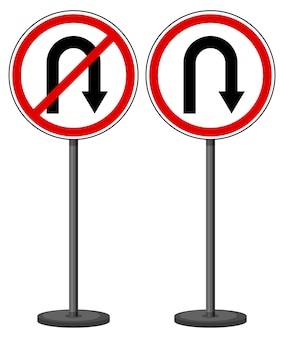 Collection of turn sign with stand isolated on white