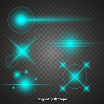 Collection of turquoise technology light effects