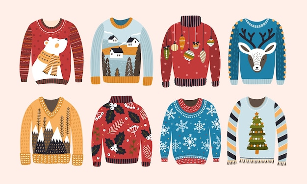 Collection of ugly christmas sweaters