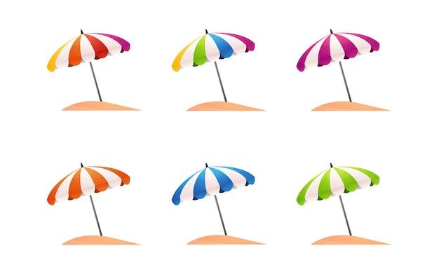 Collection of umbrellas set for summer sale banner decoration elements