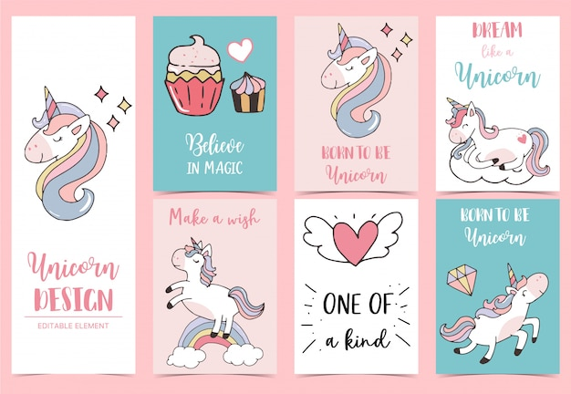 Collection of unicorn background set with cupcake