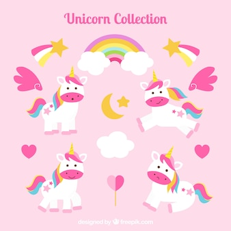 Collection of unicorns and hearts with rainbows