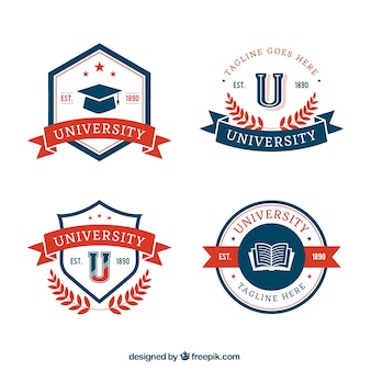 Collection of university badges