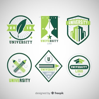 Collection of university logos in flat style