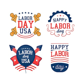 Collection of usa labour day labels