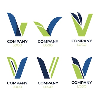 Collection of v logo templates