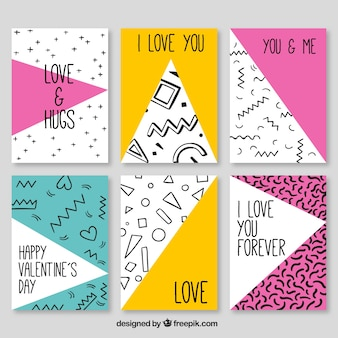 Collection of valentine cards with geometric shapes