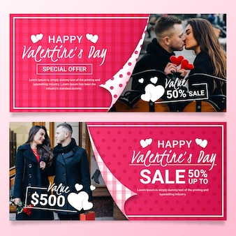 Collection of valentine's day banners with photo