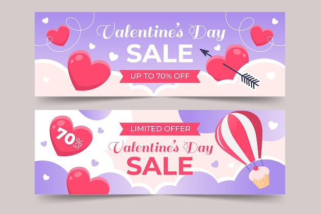 Collection of valentine's day banners