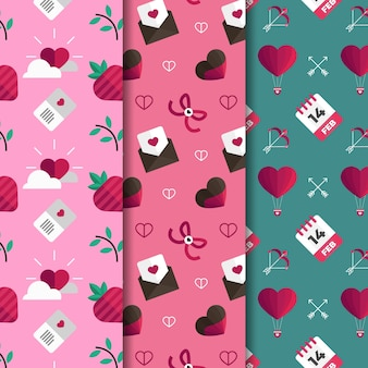 Collection of valentine's day pattern collection flat design style
