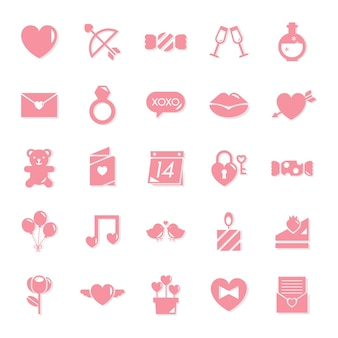 Collection of valentines day icons