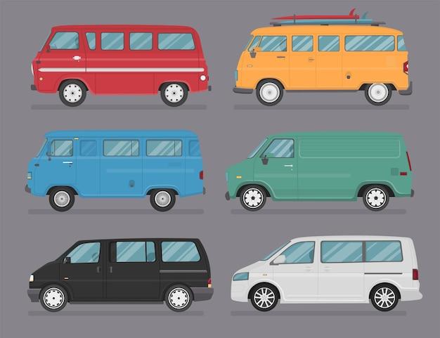 Коллекция автомобилей фургон. плоский стиль. вид сбоку, профиль.