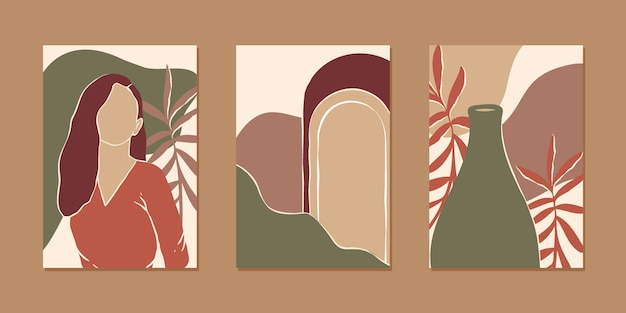 Collection of various abstract vertical background for mobile app and social media content with women portrait, plant and abstract shape in modern earth color, minimalistic style.