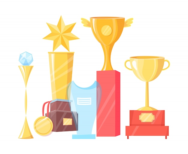 Collection of various awards illustration