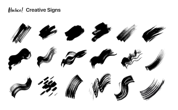 Collection of various black paint strokes made with dry brush Premium Vector