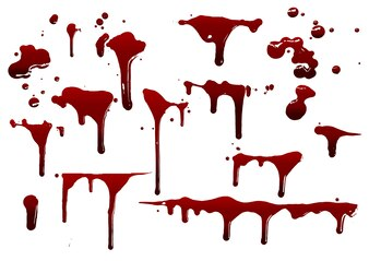 Collection various blood or paint splatters