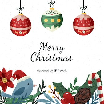 Collection of various christmas elements in watercolor style