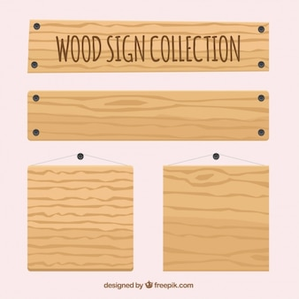 Collection of various empty wooden signs