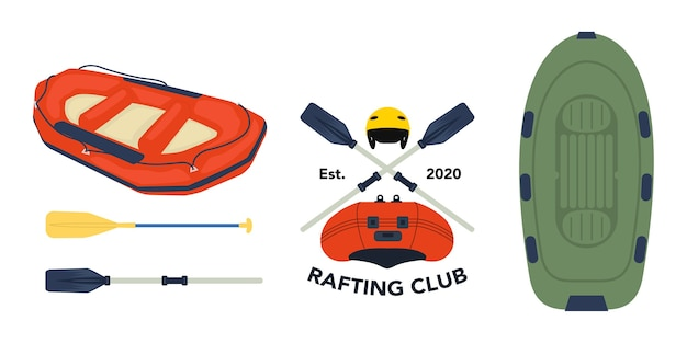 Collection of various equipment for rafting activities