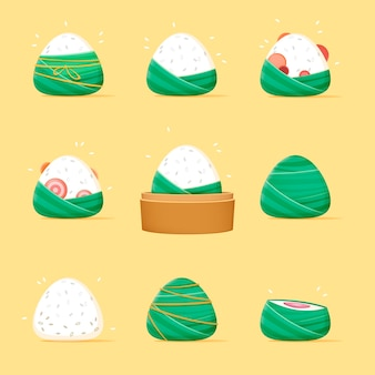 Collection of various flat design dragon boat's zongzi