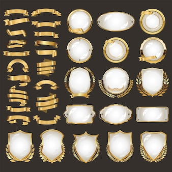 A collection of various gold ribbons badges and labels illustration