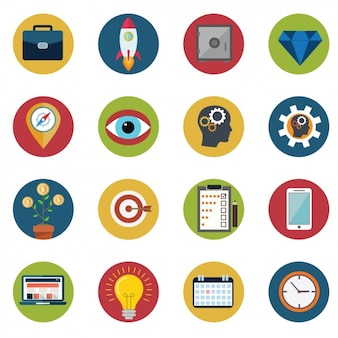 Collection of various icons in flat design Free Vector