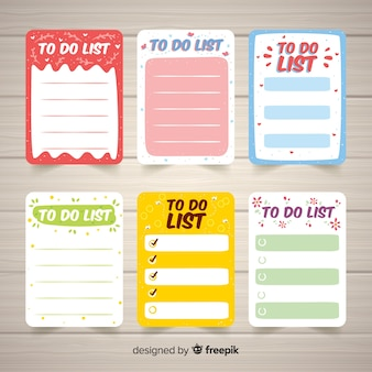 Collection of various to do lists