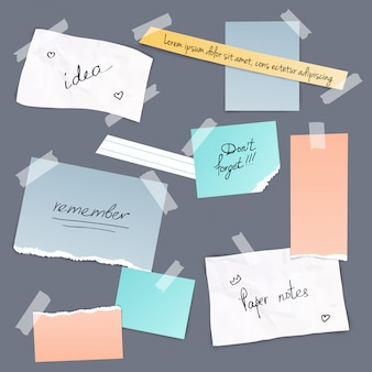 Collection of various note papers with tape illustration