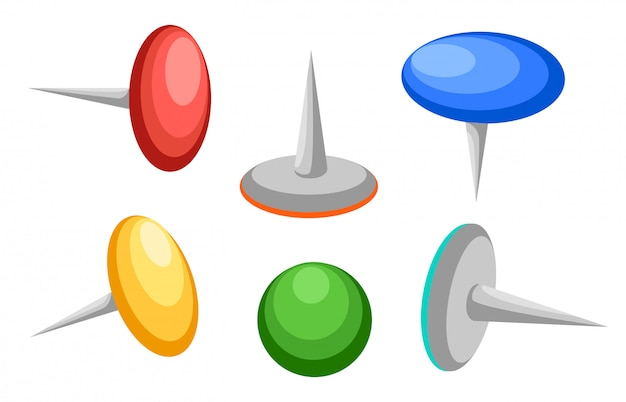 Collection of various push pins. thumbtacks. top view. illustration. isolated on white background. set. front view. top view. close up.