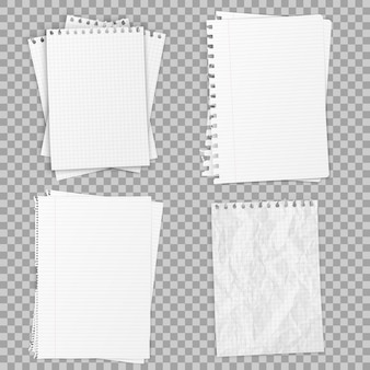 Collection of various realistic white papers. office paper of different types, design template