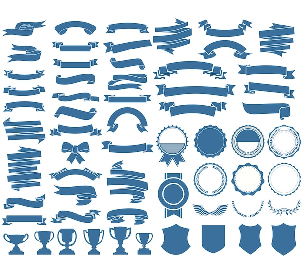 A collection of various ribbons tags laurels shields and trophies