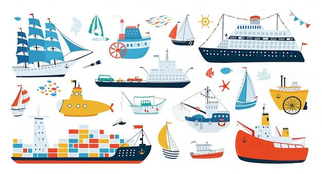 フラットスタイルの白い背景に分離された様々な船のコレクション。水上輸送のイラスト。