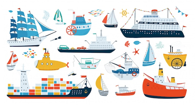 Collection various ships isolated on white background in a flat style. water transport illustrations.