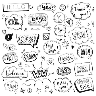 Collection of various speech bubbles